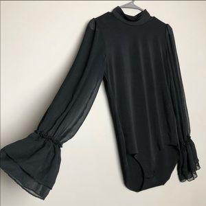 Zara bell sleeve mock neck bodysuit